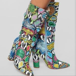Bring It On Heeled Boots - Rainbow Snake
